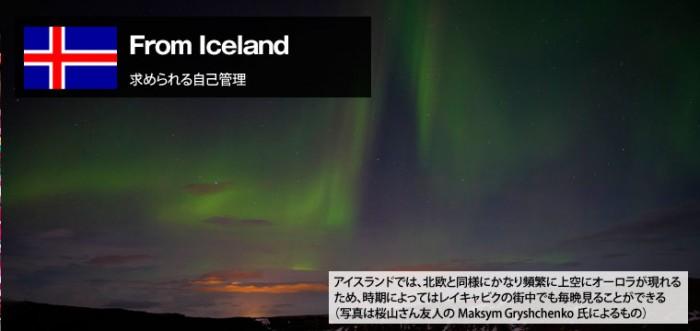 【アイスランド編Vol.1】自由でシビアなアイスランドの労働環境の記事のトップ画像(オーロラの画像)。アイスランドでは、北欧と同様にかなり頻繁に上空にオーロラが現れるため、時期によってはレイキャビクの街なかでも毎晩見ることができる(写真は桜山さん友人のMaksym Gryshchenko氏によるもの)