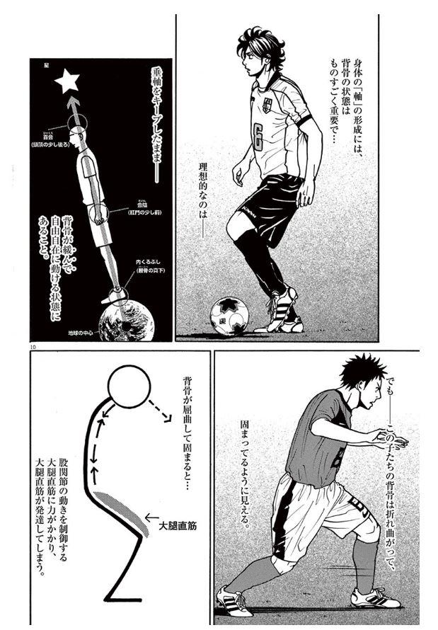 『フットボールネーション』4巻、東京クルセイドと他のチームの選手の姿勢の違いを解説するシーン