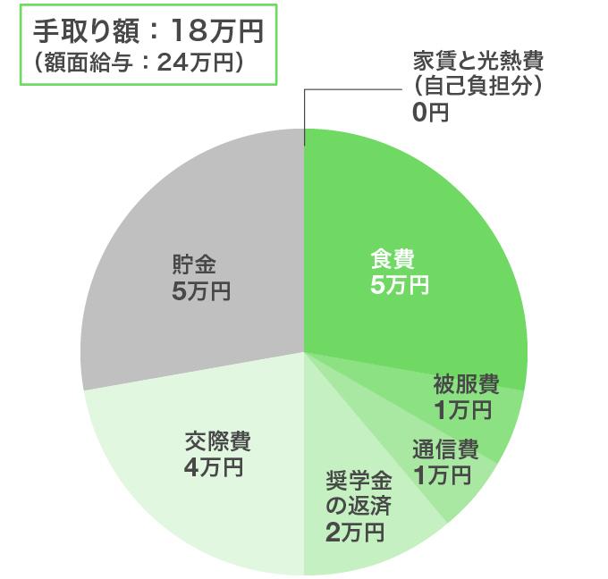 東京都・一人暮らし/男性の給料のやりくり例