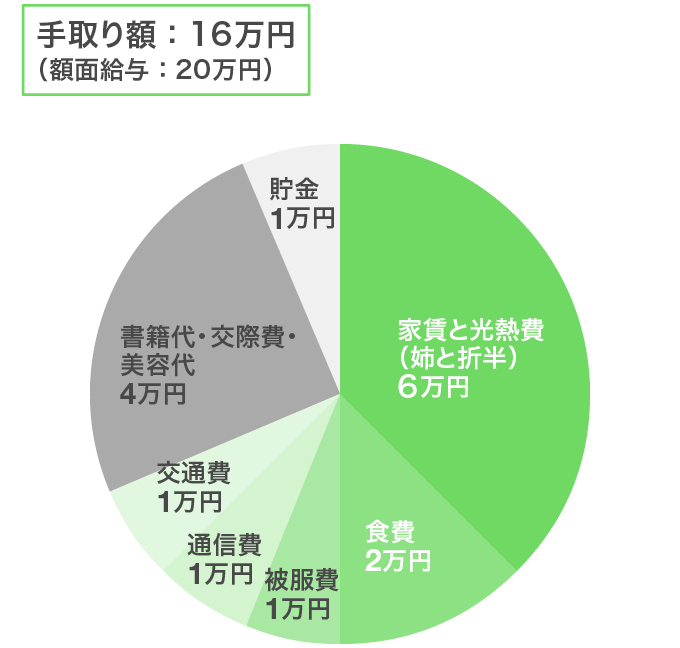 東京都・姉と二人暮らし/女性の給与やりくり例