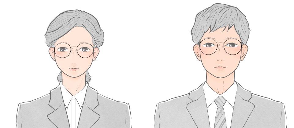 たまご型向けのラウンドタイプのメガネをかけた就活生のイメージ
