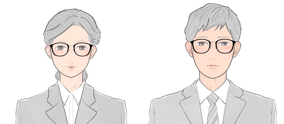 面長顔向けのウエリントンタイプのメガネをかけた就活生のイメージ