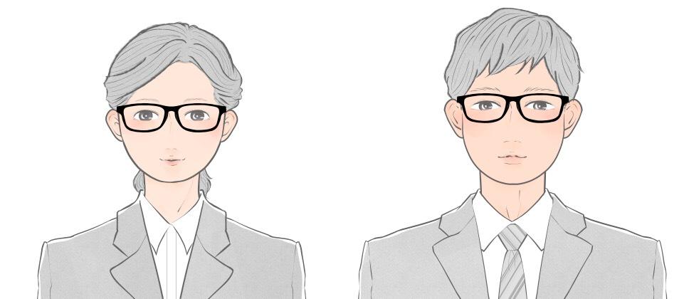丸顔向けのスクエアタイプのメガネをかけた就活生のイメージ