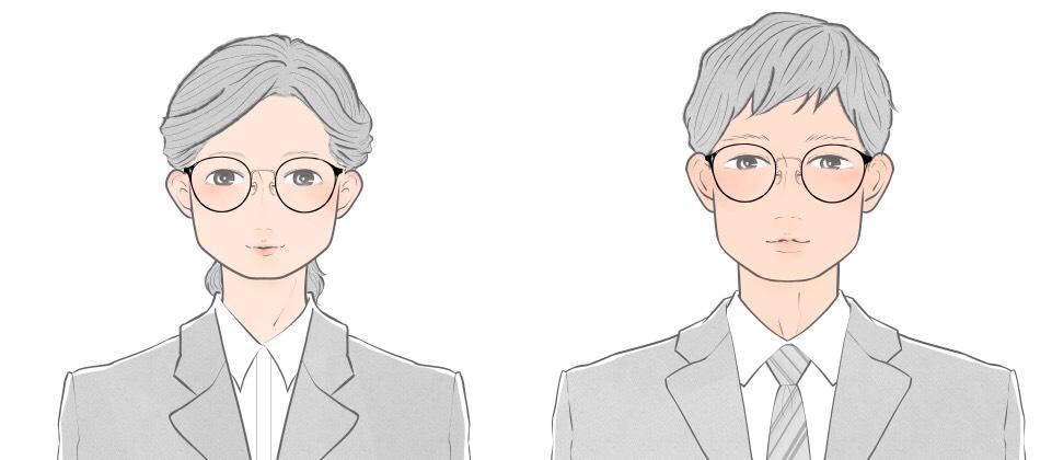 四角顔向けのボストンタイプのメガネをかける就活生のイメージ