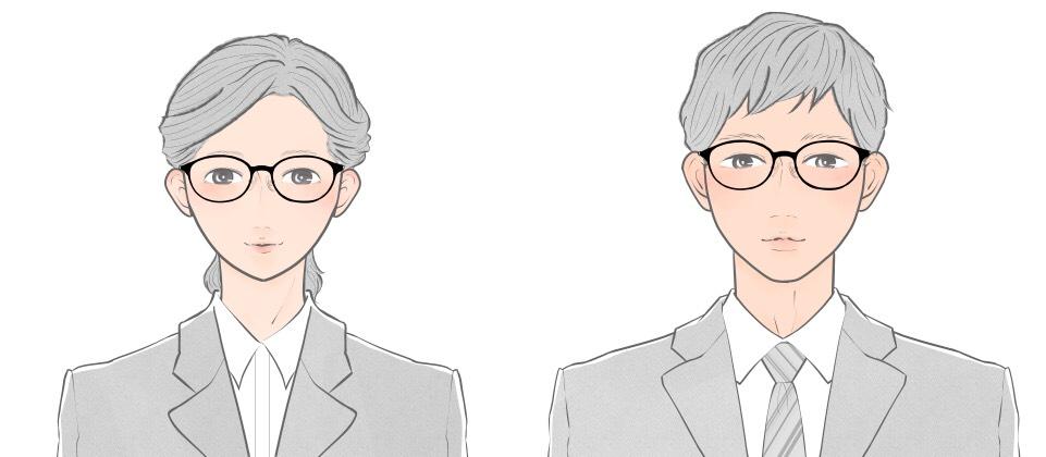 三角顔向けのオーバルタイプのメガネをかけた就活生のイメージ